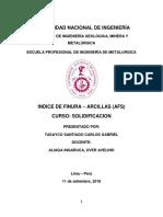 1er Informe - Indice de Finura - Arcillas (AFS)