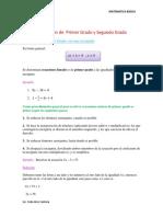 Ecuaciones de Primer Grado y Segundo Grado