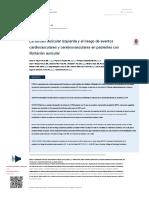 La Fibrilacion Auricular Izquierda y El Riesgo de Eventos Cardiovasculares y Cerebro en Pacientes Con Fa