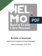 HELMo Presentation de La Formation Et Du Profil d Enseignement Assurance 2018 2019