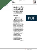 Start up su Sky fornisce i dati sull'efficenza dei giocatori - Il Corriere Adriatico del 6 maggio 2019