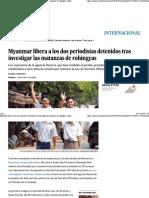 Myanmar Libera a Los Dos Periodistas Detenidos Tras Investigar Las Matanzas de Rohingyas