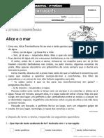 Ficha de Avaliação Trimestral - 3º Período - 3º Ano PORT_I