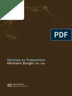 Hermann Burger - Nachlass Zu Todeszeiten