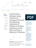 United States Disrupts Large Scale Front Company Network Transferring Hundreds of Millions of Dollars and Euros to the IRGC and Iran's Ministry of Defense _ U.S