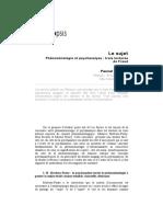 Fenomenologia y Psicoanalisis Tres Lecturas de Freud en Frances
