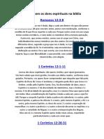5 Listas Com Os Dons Espirituais Na Bíblia