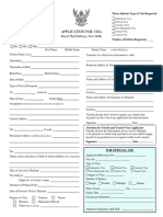 Thailand Visa Form