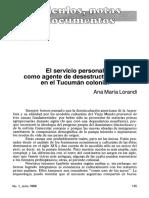 Lorandi El Tucumán Colonial y El Servicio Personal.