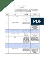 Sample Seminar Schedule (F19)