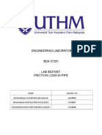 lab report of friction loses in pipe