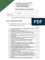 """Ficha de Avaliação """"Gestão e Técnicas de Reserva"""" - Recepção de Hotel"""