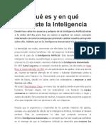 ¿Qué es y en qué consiste la Inteligencia