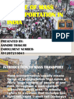 Transportation Presentation (Future of Mass Transportation in India)