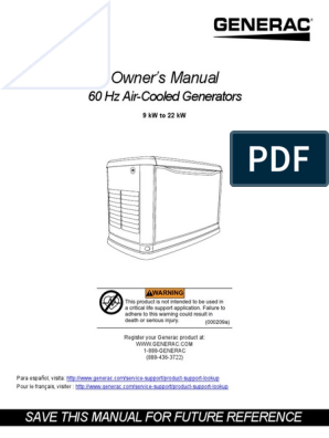 Generac 11W User Guide | Fire Safety | Natural Gas