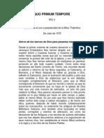 QUO PRIMUM TEMPORE - San Pio v - Perpetuidad de La Misa Tridentina