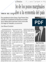 Edgard Romero Nava - La Reactivacion de Los Campos Marginales Dara Un Impulso a La Economia Del Pais - El Universal 05.08.1992