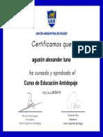 Certificado Dopaje Agustin Luna