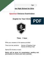 Specimen Y9 Entrance Exam