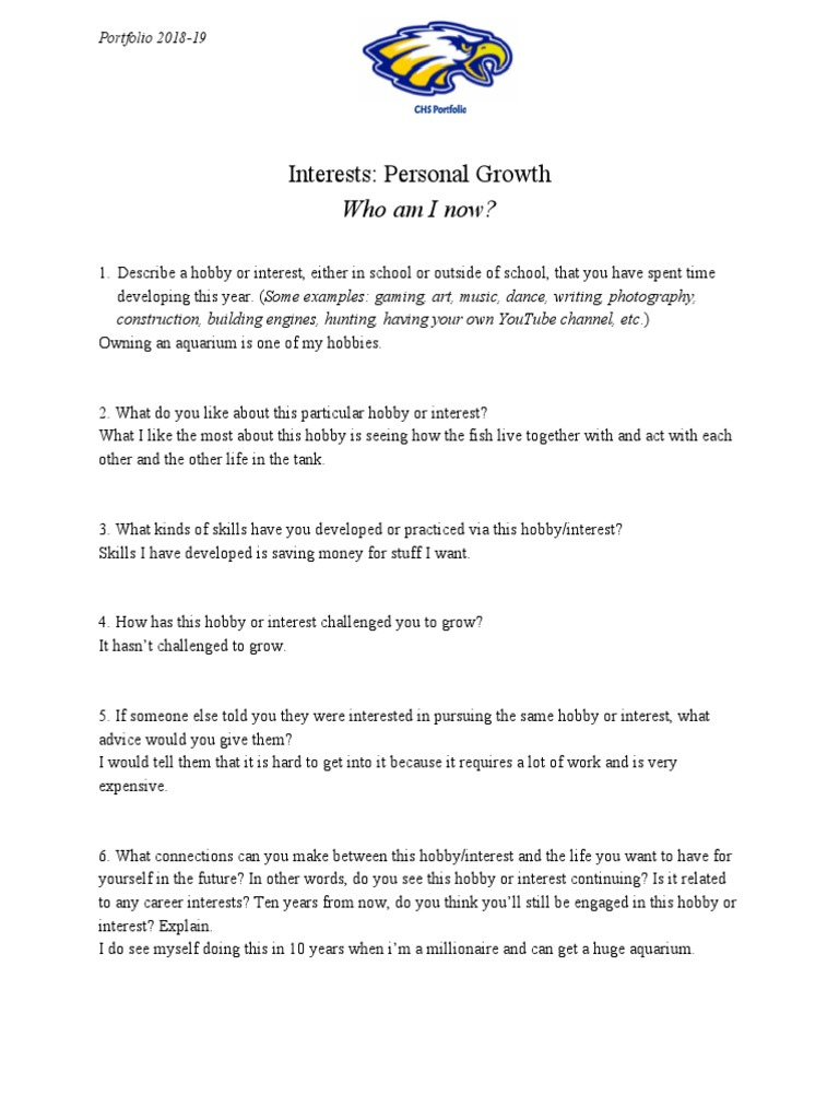 Interests Personal Growth