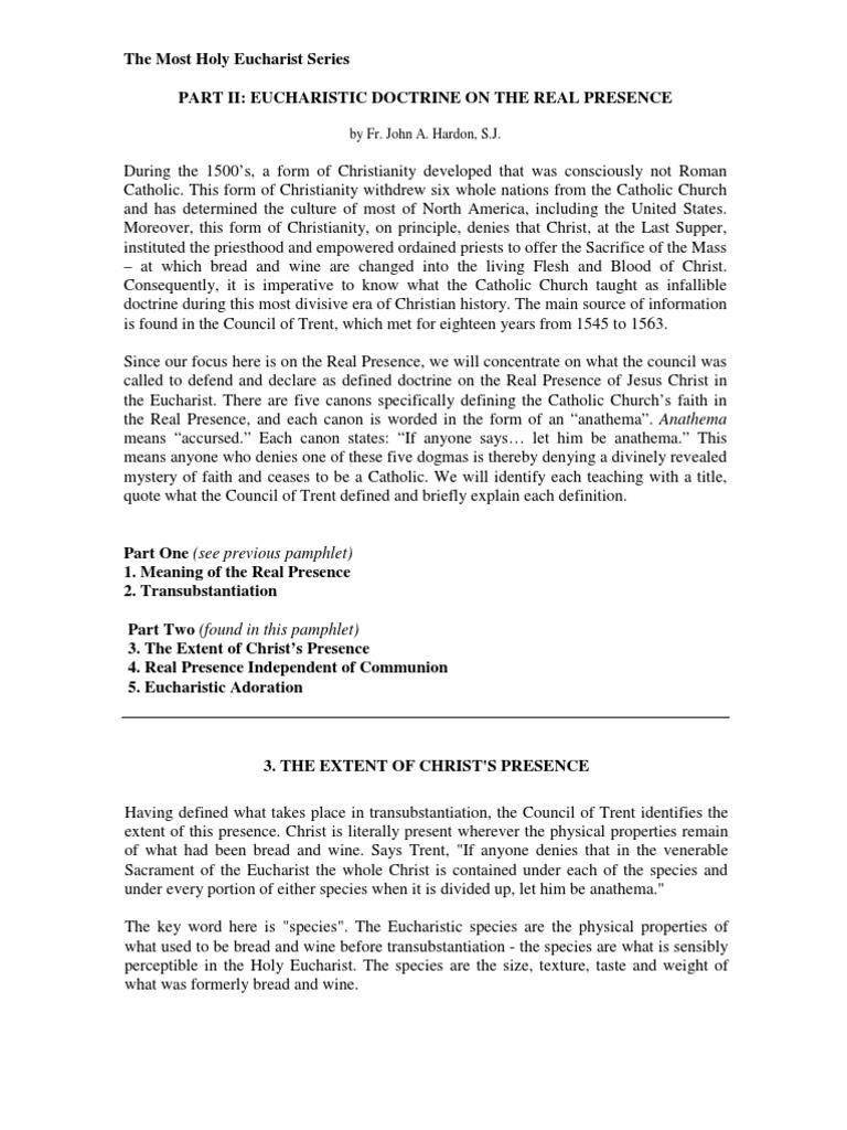 Eucharist Doctrine on Real Presence ~ Part II - By Fr  John
