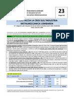 Osservatorio Sindacale 23° Rapporto crisi settore metalmeccanico Lombardia - Primo semestre 2008