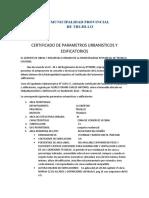 Certificado de Parametros Nv