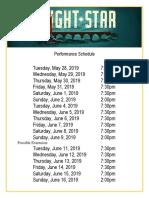 Bright Star Performance Schedule