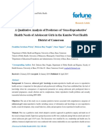 A Qualitative Analysis of Predictors of Sexoreproductive Health Needs of Adolescent Girls in the Kumbo West Health District of Cam