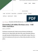 Karnataka Lok Sabha Elections 2019 Poll Dates and Schedules