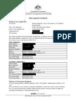 Visa Grant Notice
