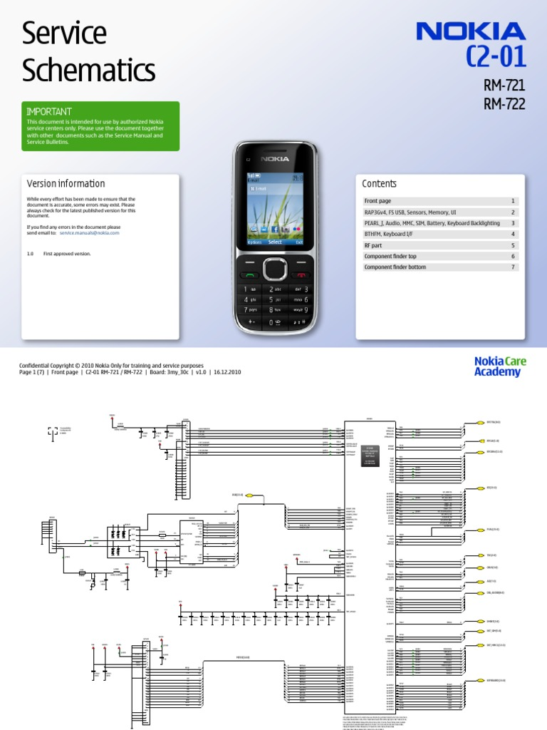 Nokia C2 01 Rm 721 722 Service Schematics V1 0 Computer Related Introductions Electronics