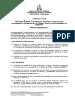 Edital Mestrado 2019 PPGCTA