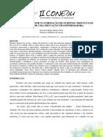 O PAPEL DO PROFESSOR NA FORMAÇÃO DE SUJEITOS