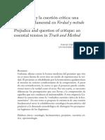 El Prejuicio y La Cuestión Crítica Una Tensión Fundamental en Verdad y Método 2007-2538-Valencia-10!19!00125