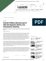 Función Pública Descarta Que El Fallo Del Supremo Afecte a Los Funcionarios Interinos - Levante-EMV
