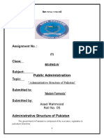 Administrative Structure of Pakistan Assignment