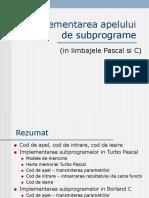Implementarea Apelului de Subprograme