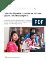 Convocatoria para la 13° Edición del Título de Experto en Pueblos Indígenas. _ INPI _ Instituto Nacional de los Pueblos Indígenas _ Gobierno _ gob.mx