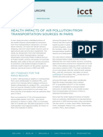 Health impact of air pollution sources from transportation sources in Paris