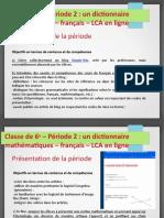 Dictionnaire Mathématiques LCA - Cycle 3