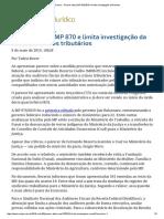 ConJur - Parecer Altera MP 870_2019 e Limita Investigação Da Receita