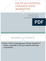Interface of Accounting and Finance With Marketing