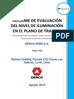 Informe de Monitoreo N° 045 - 2018 - Iluminación - Travimus - Derco Perú S.A. - Lurin - Taller PDI