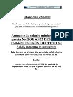 Aumento de Sueldo y Cestatickets 15 de Abril 2019