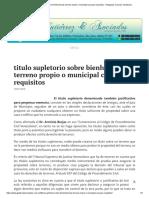 Titulo Supletorio Sobre Bienhechurias Terreno Propio o Municipal Caracas Requisitos