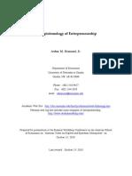 The Epistemology of Entrepreneurship
