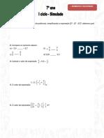 Simulado Matemática 7º Ano