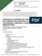 Audit de La Conformité Du Réaménagement Des Effectifs Aux Directives Et Aux Conventions Collectives Connexes - Rapport Final