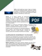 CLASIFICACION DE LOS MATERIALES Y SU APLICACIÓN